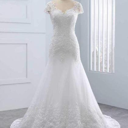 Cap Sleeves Lace Mermaid Tulle Wedd..