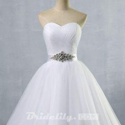 Simple Ruffle Strapless Tulle A-lin..