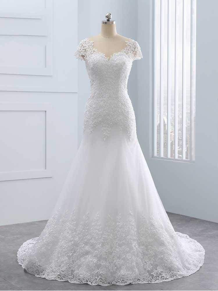 Cap Sleeves Lace Mermaid Tulle Wedding Dresses