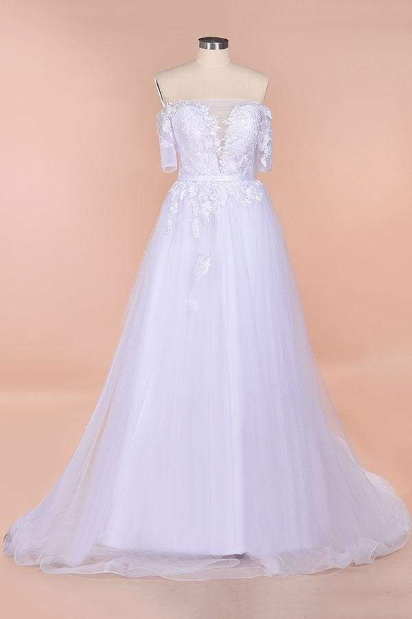 A-line Off-the-shoulder Appliques Wedding Dress