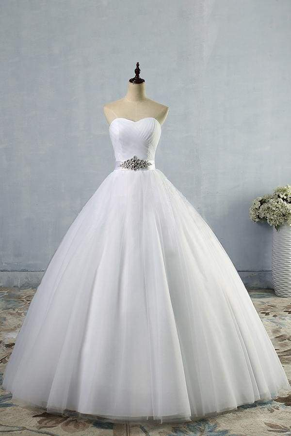 Simple Ruffle Strapless Tulle A-line Wedding Dress
