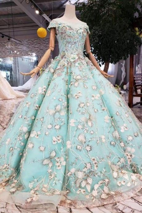 Big Sheer Neck Puffy Prom Cap Sleeves Fairy Tale Lace Dress with Beading