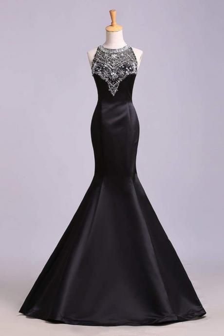 Black Mermaid Sleeveless Beaded Satin Prom Dress Long Evening Dresses