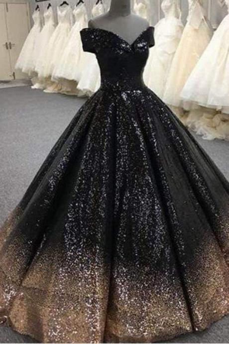Bling Sequins Black Ball Prom Dresses Off Shoulder Formal Gown Masquerade