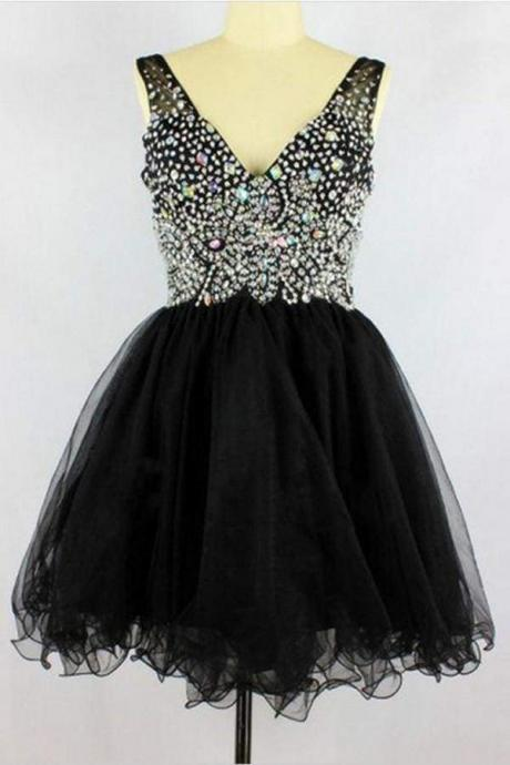 Black V-neck Sleevelesss Beading Prom Homecoming Dresses