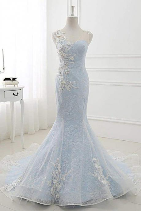 Awesome Fascinating Modest Baby Blue Sweep Train Lace Mermaid Evening Dresses Formal Dress With Applique