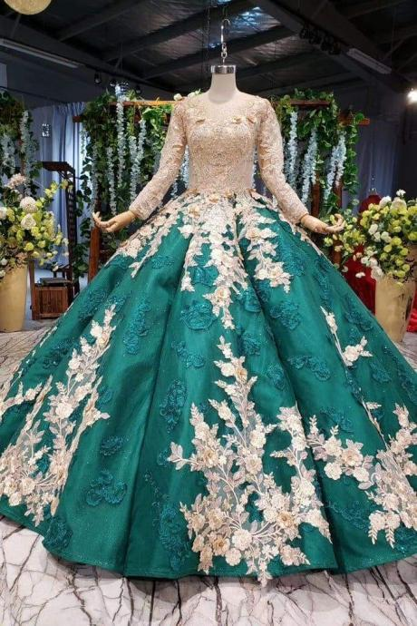 Ball Gown Long Sleeves Floor Length Prom Dress with Appliques Quinceanera Dresses