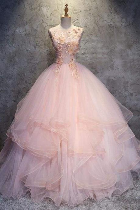Ball Gown Long Prom Dress with Hand Made Flowers Gorgeous Quinceanera Dresses