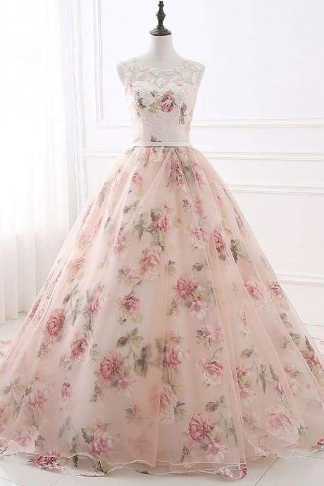 Ball Gown Print Prom Lace Up Back Appliques Long Quinceanera Dresses