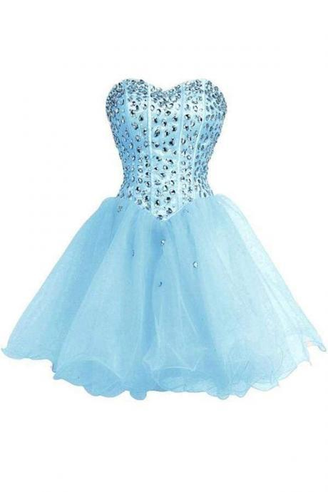 Baby Blue SweetHeart Orangza Homecoming Dress Graduation Gown