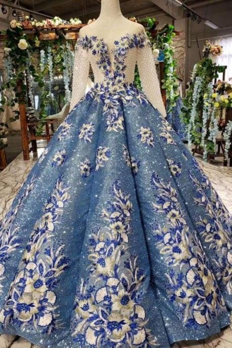 Ball Gown Prom Dresses Sheer Neck Long Sleeves Lace Up Back Sequins Appliques