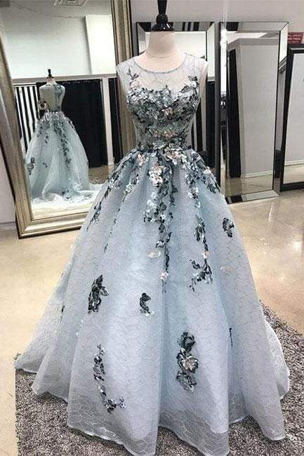 A-line Sleeveless Lace Long Prom Dress with Appliques Sweep Train Formal Dresses