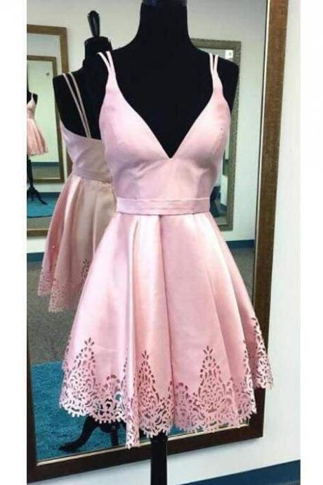 A-line Spaghetti Straps Pink Satin Homecoming Sweet 16 Short V neck Prom Dress