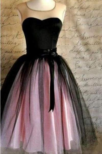 A-line Sleeveless Vintage Ribbons Belt Tulle Short Prom Party Dress Sweet 16 Dresses
