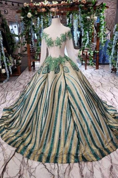 Amazing Modest Excellent Unique Puffy Sleeves Long Graduation Dresses Sheer Neck Quinceanera Dress