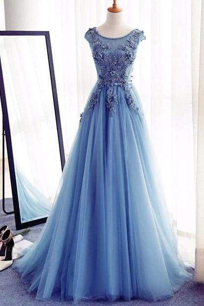 Appliques A-Line Sleeveless Ice Blue Tulle Prom Long Evening Dresses