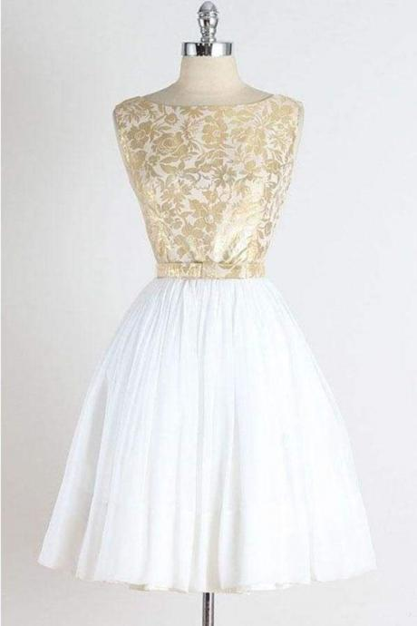 A Line Vintage Sleeveless Gold Lace Short Homecoming Dress Tulle Party Dresses