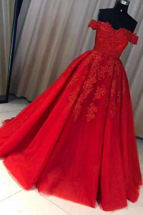 A-line Red Off the Shoulder Prom Dress with Lace Appliques Long Tulle Evening Gown