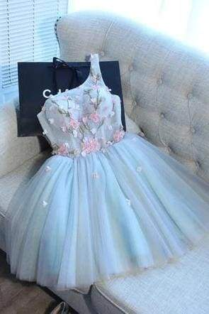 A Line One Shoulder Juniors Tulle Homecoming Dresses Cute Graduation Dress with Flower