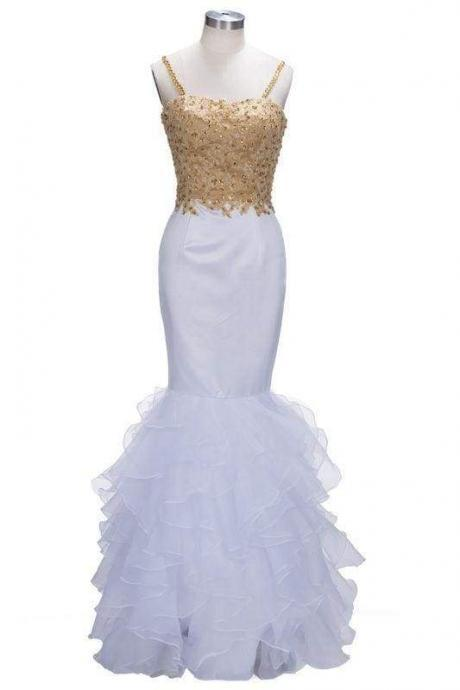 Bridelily Mermaid Spaghetti Sweetheart Long Tulle Prom Dresses with Crystals