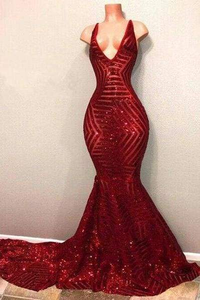 Bridelily Red Sequins Shiny V Neck Mermaid Long Prom Dresses