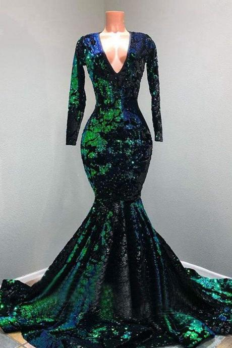 Sparkly Sequin Long Sleeve V-neck Mermaid Prom Dresses