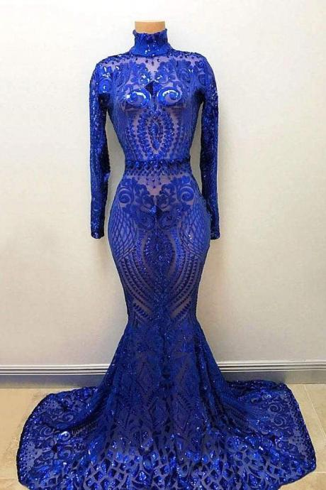 High Neck Long Sleeve Sequin Royal Blue Mermaid Prom Dress