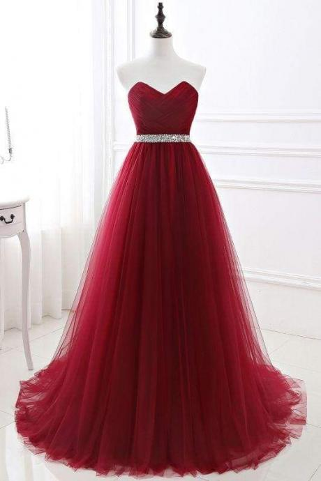Elegant Lace-up Strapless Sweetheart Tulle Red Prom Dress