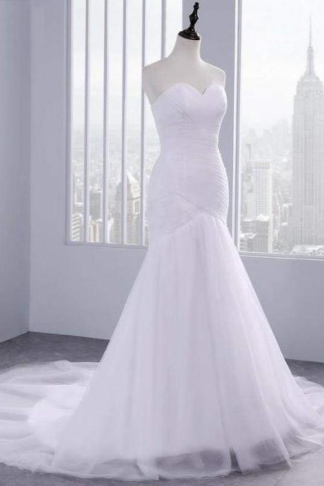 Affordable Ruffle Tulle Strapless Mermaid Wedding Dresses