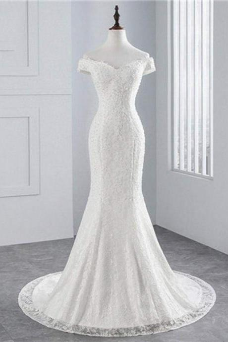 Beading Appliques Lace-up Mermaid Wedding Dresses