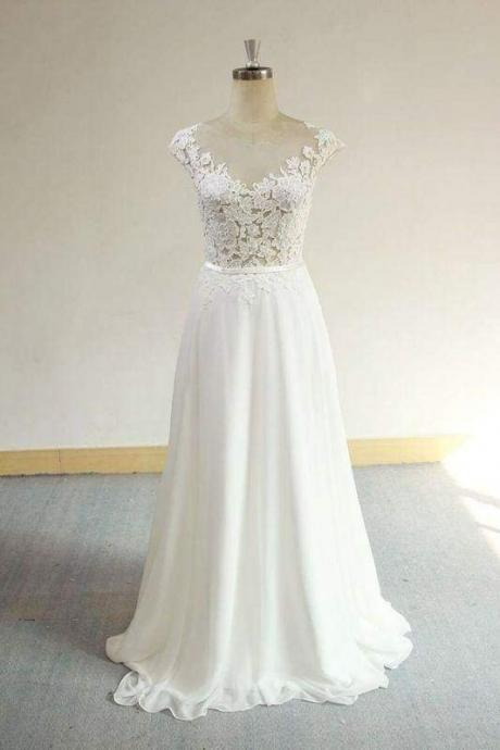 Bridelily Cap Sleeve Appliques Chiffon A-line Wedding Dress