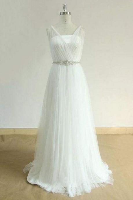 Bridelily Amazing Open Back Rulle Tulle A-line Wedding Dress