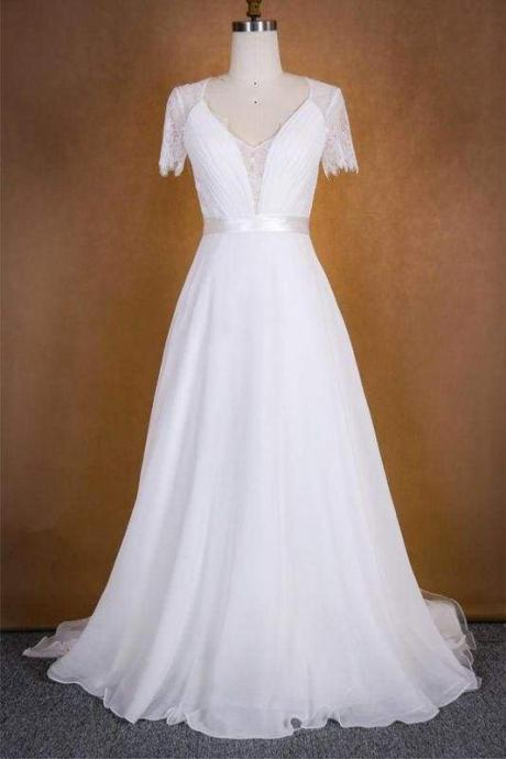 Bridelily Ruffle Short Sleeve Lace Chiffon Wedding Dress