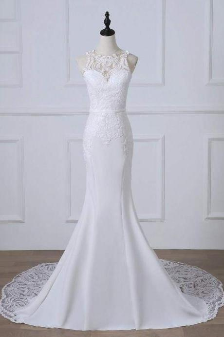 Bridelily Precious Spaghetti Strap Lace Mermaid Wedding Dress