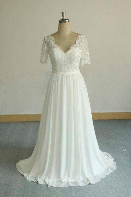 Bridelily Short Sleeve V-neck Lace Chiffon Wedding Dress