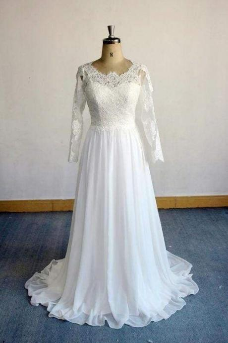 Bridelily Open Back Long Sleeve Lace Chiffon Wedding Dress