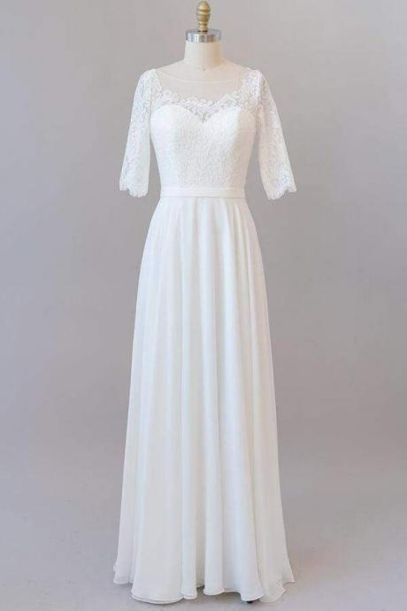 Graceful Lace Chiffon Floor Length Wedding Dress