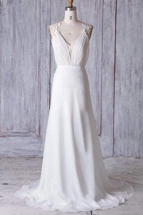 Affordable Ruffle Chiffon Sheath Wedding Dress