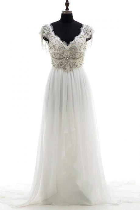 Amazing V-neck Beading Chiffon A-line Wedding Dress