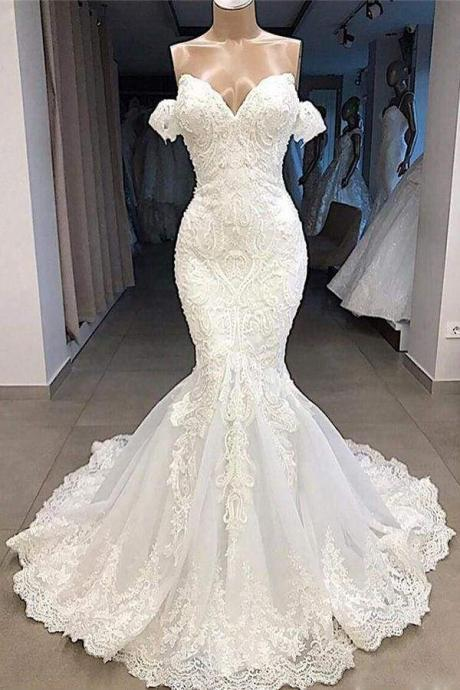 Amazing Sweetheart Appliqued Mermaid Wedding Dress