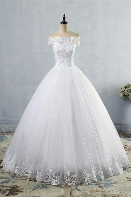Latest Lace-up Tulle Appliques A-line Wedding Dress