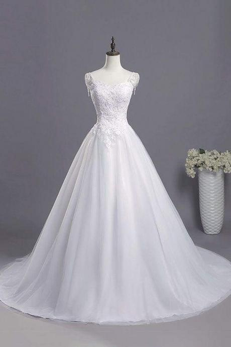 Beading Appliques Lace A-line Tulle Wedding Dress