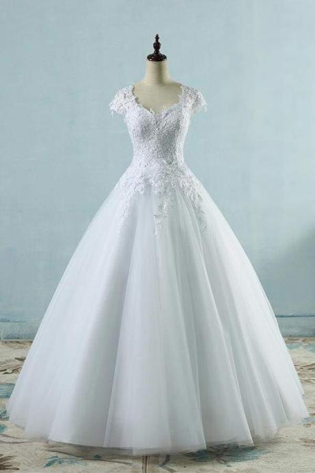 Appliques Cap Sleeve Tulle A-line Wedding Dress