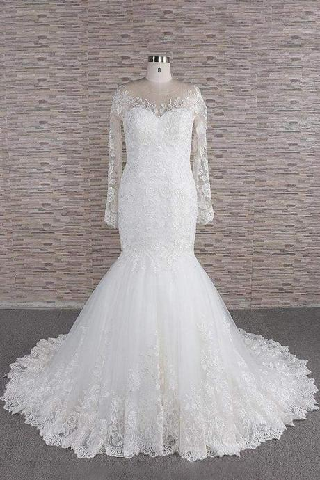 Graceful Appliques Long Sleeve Mermaid Wedding Dress