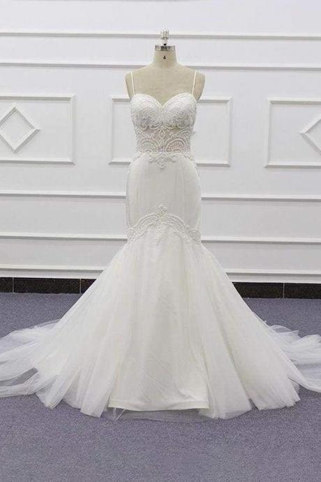 Chic Spaghetti Strap Beading Mermaid Wedding Dress
