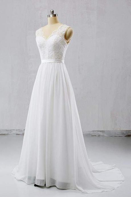 V-neck Lace Chiffon Flowy A-line Wedding Dress