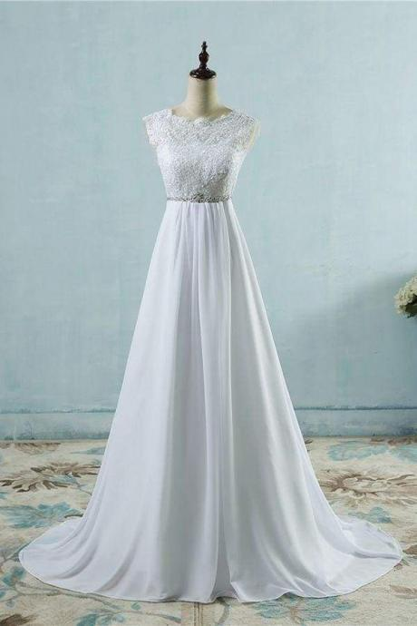 Chic A-line Lace Chiffon Floor Length Wedding Dress