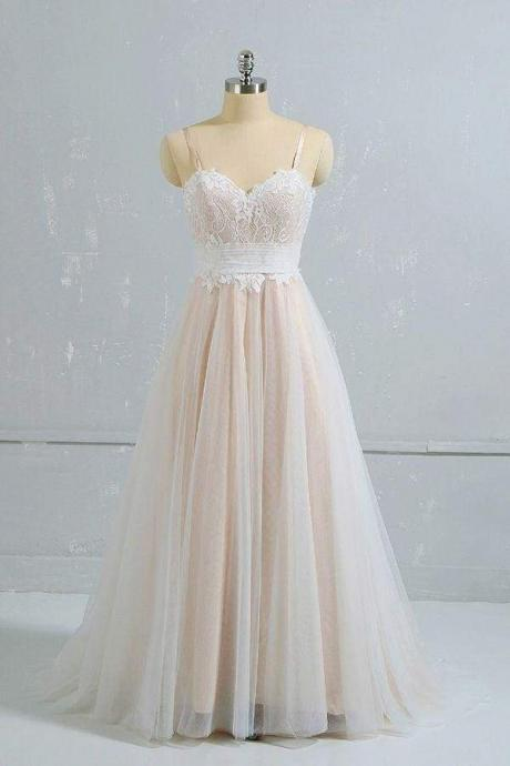 Cute Spaghetti Strap Lace A-line Wedding Dress