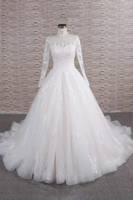 Graceful Appliques Long Sleeve A-line Wedding Dress
