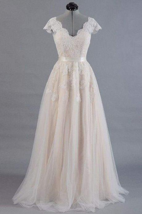 Cute Cap Sleeve V-neck Lace Tulle Wedding Dress